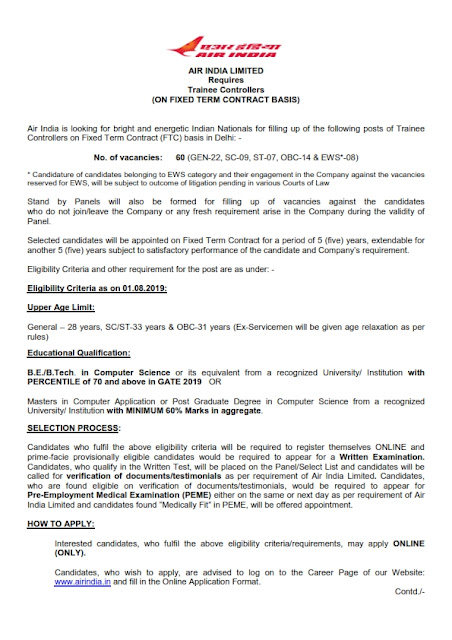 Recruitment of Trainee Controller posts in Air India Limited,India
