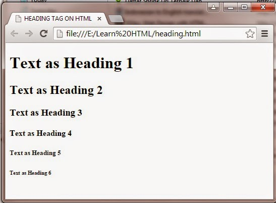 The appearance of heading tag on the web browser