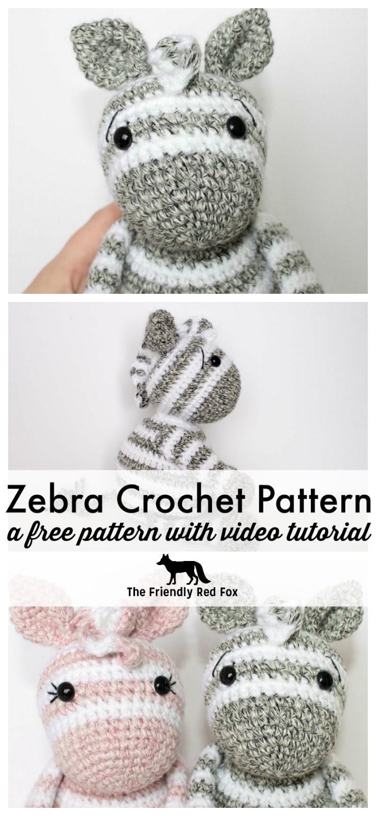 Free Crochet Zebra Pattern - thefriendlyredfox.com