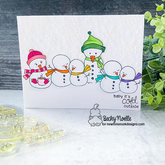 Baby, it's cold outside by Becky features Frozen Friends and Snowfall by Newton's Nook Designs; #newtonsnook, #inkypaws, #cardmaking