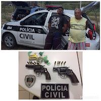 Polícia civil de Picuí prende dois e apreende armas, drogas e pássaros