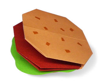 Cách gấp, xếp bánh hamburger bằng giấy origami - Video hướng dẫn
