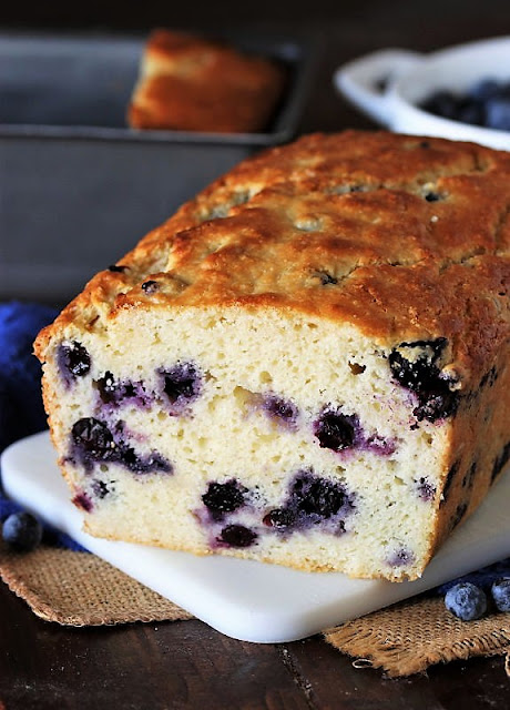 Cut Loaf of Buttermilk Blueberry Bread Image