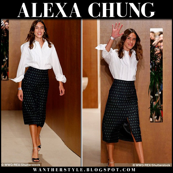 Alexa Chung in white shirt and black printed midi skirt ALEXACHUNG show september 15