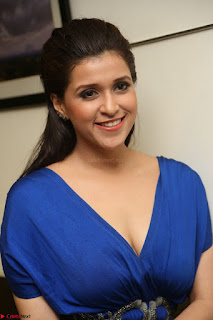 Mannara Chopra in Short Blue Dress at Rogue Movie Teaser Launch 1st March 2017 084.JPG