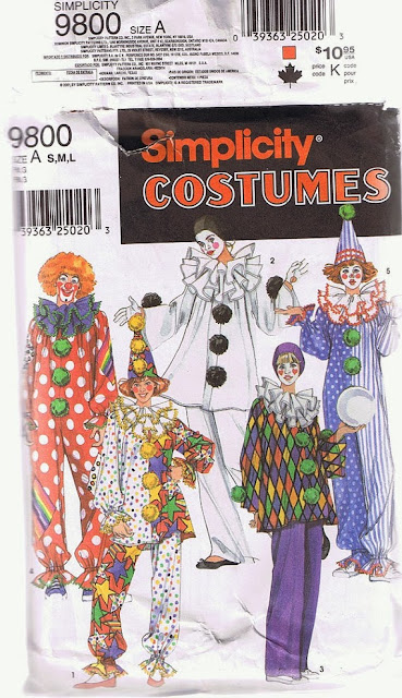 Simplicity 9800 clown costume pattern