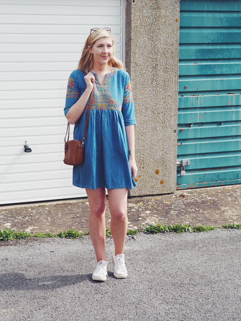 embroidereddenimdress, ASOS, asseenonme, wiw, whatimwearing, outfitpost, outfitoftheday, ootd, lotd, lookoftheday, Converse, skaterdress, denimdress, summerdress, embroidery