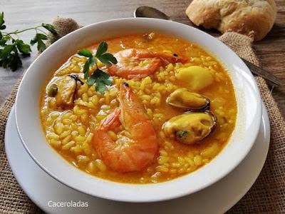 arroz caldoso con pescado y marisco