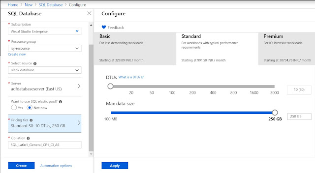 Azure SQL Pricing tier configuration