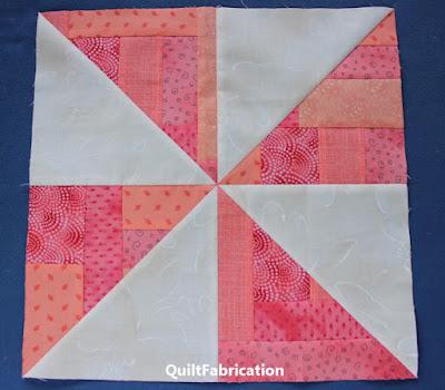 coral pinwheel quilt block