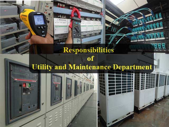 Responsibilities Utility Maintenance Department