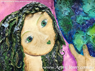 facial details for mixed media artwork featuring Mother Nature and the Earth by Jenny James