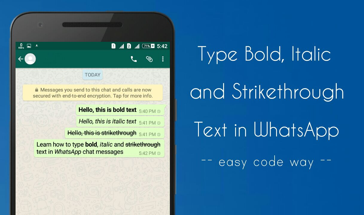 Type bold, italic & strikethrough text in WhatsApp