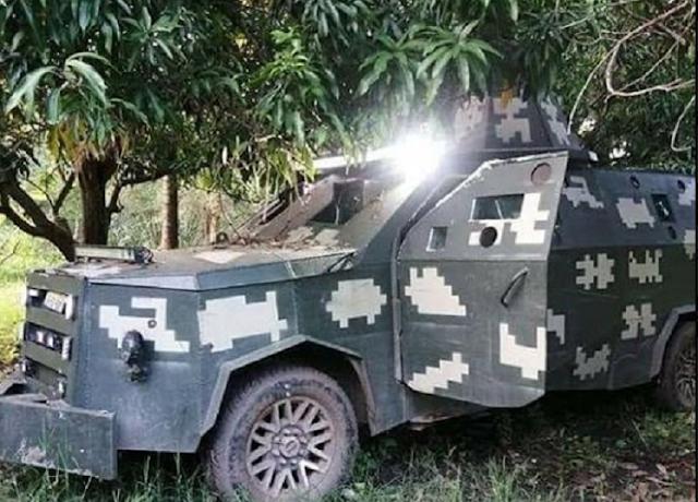 FOTOS, Blindados y rotulados como el Ejercito, ojivas y Camionetas así fue como Gobierno entro en día sorpresa y saco al CJNG de Aguililla, Michoacan.