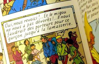Photo d'une page de Tintin au Tibet où apparaît la faute lamasserie au lieu de lamaserie.