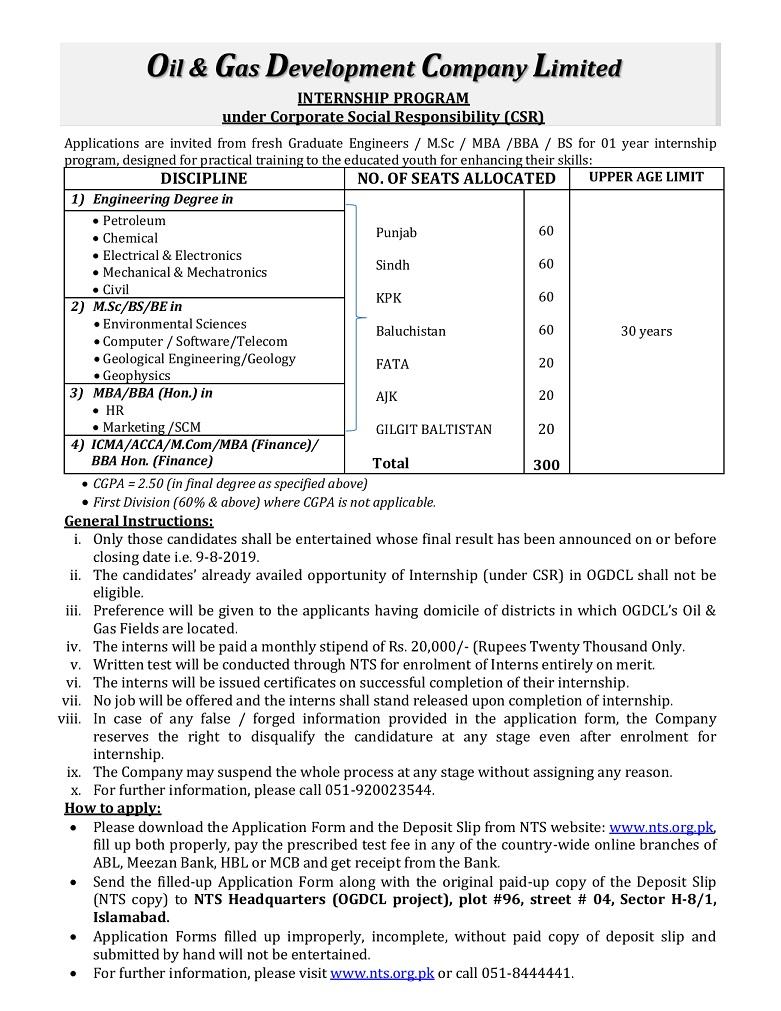 Oil And Gas Development Company Limited Internship Program 2019