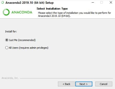 Select the Anaconda3 installation type.