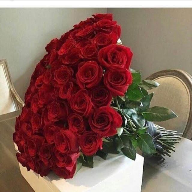 بوكيه ورد جوري احمر قلب حب
