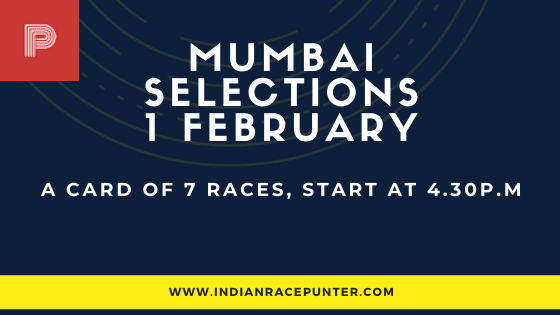 Mumbai Race Selections 1 February, India Race Tips by indianracepunter,  free indian horse racing tips