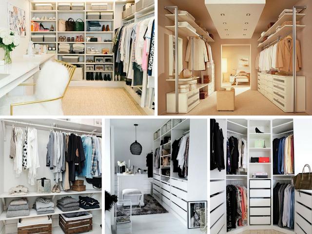 Visão global de um walk-in-closet