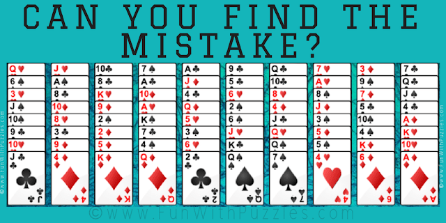 It is Card Mistake Finding Mind Puzzle in which you have to find the error in the given card puzzle image