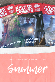 Text: Reading Challenge 2020 Summer; photo of Boxcar Children books
