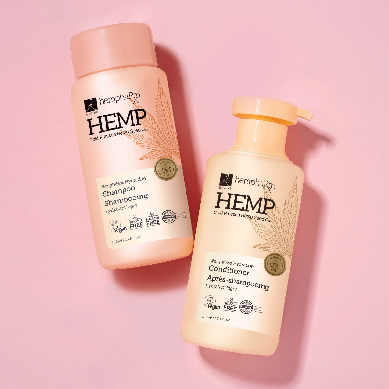 Dry air, dry hair? Try hemp for hair! Elastine Hempharmx shampoo and conditioner contain cold extracted hemp oil rich in omega 3-6-9 to help moisturize and nourish hair while preventing breakage. See the difference these vegan formulas can do for your hair.