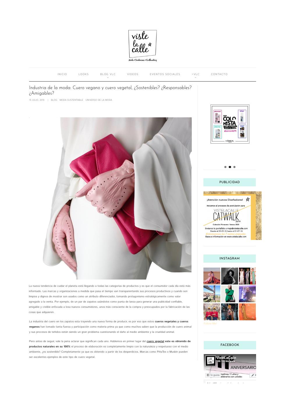 bloggera chilena  columnista de moda en chile - pamela victoria - pamela victoria experta en moda en chile - experta en moda sustentable - cuero vegano - cuero sustentable- es sustentable el cuero