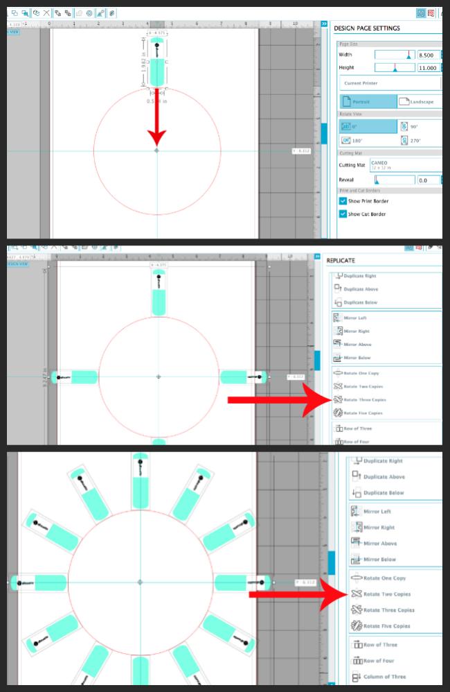 rotation tool silhouette studio, design a clock face silhouette studio