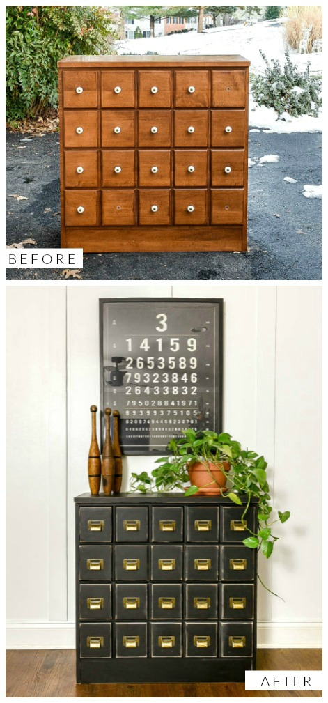 Before and after dresser turned faux apothecary cabinet