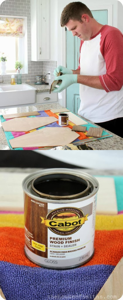 DIY Halloween Decor - staining with Cabot aged leather - thehouseofsmiths.com