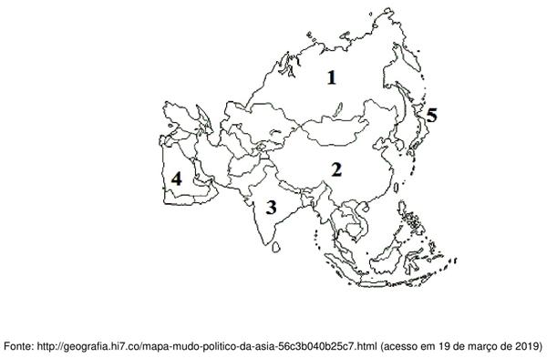 Observe o mapa que ilustra a divisão política do Continente Asiático para responder à questão
