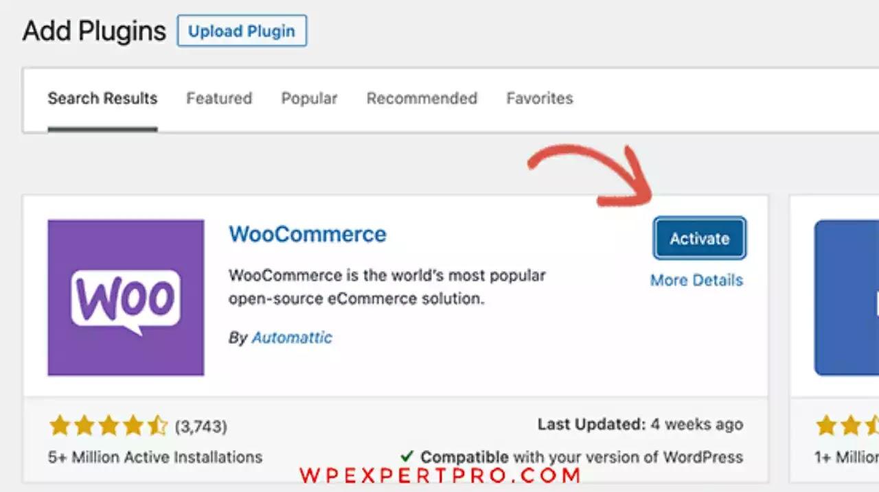 Active WooCommerce plugin