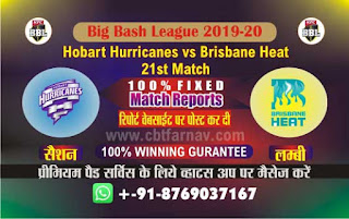 Today Match Prediction Brisbane vs Hobart BBL T20 21st Match Cric Traker