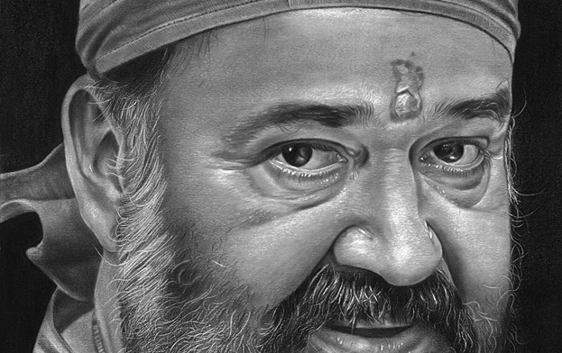Amazing Realistic Pencil Drawing of Indian film actor Mohan Lal by Mr. Jibin Sibi