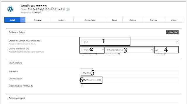 install wordpress di cpanel menggunakan softaculous