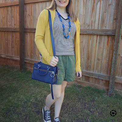 awayfromblue instagram | colourful way to wear a striped tee mustard cardigan olive shorts outfit