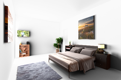 image of household furniture arranged in a way as they would be in a house, casting shadow onto a transparent, white background before it is composited onto the real photo of an empty room.