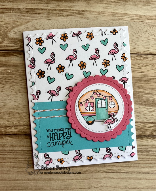 You make me a happy camper by Debbie features Cozy Campers, Framework, and Circle Frames by Newton's Nook Designs; #newtonsnook
