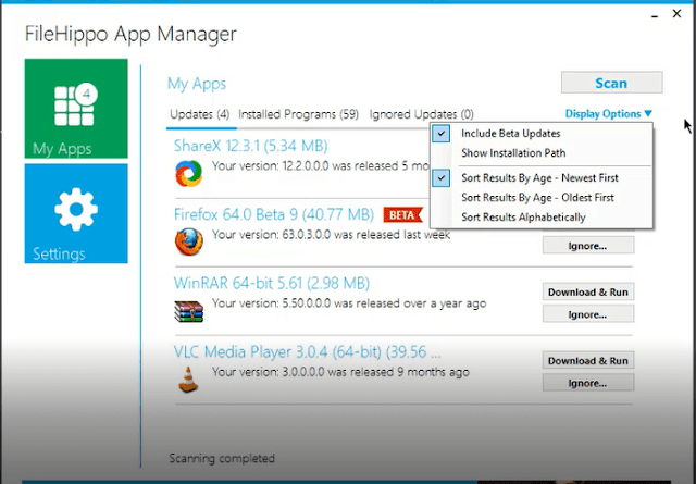 برنامج Filehippo App Manager