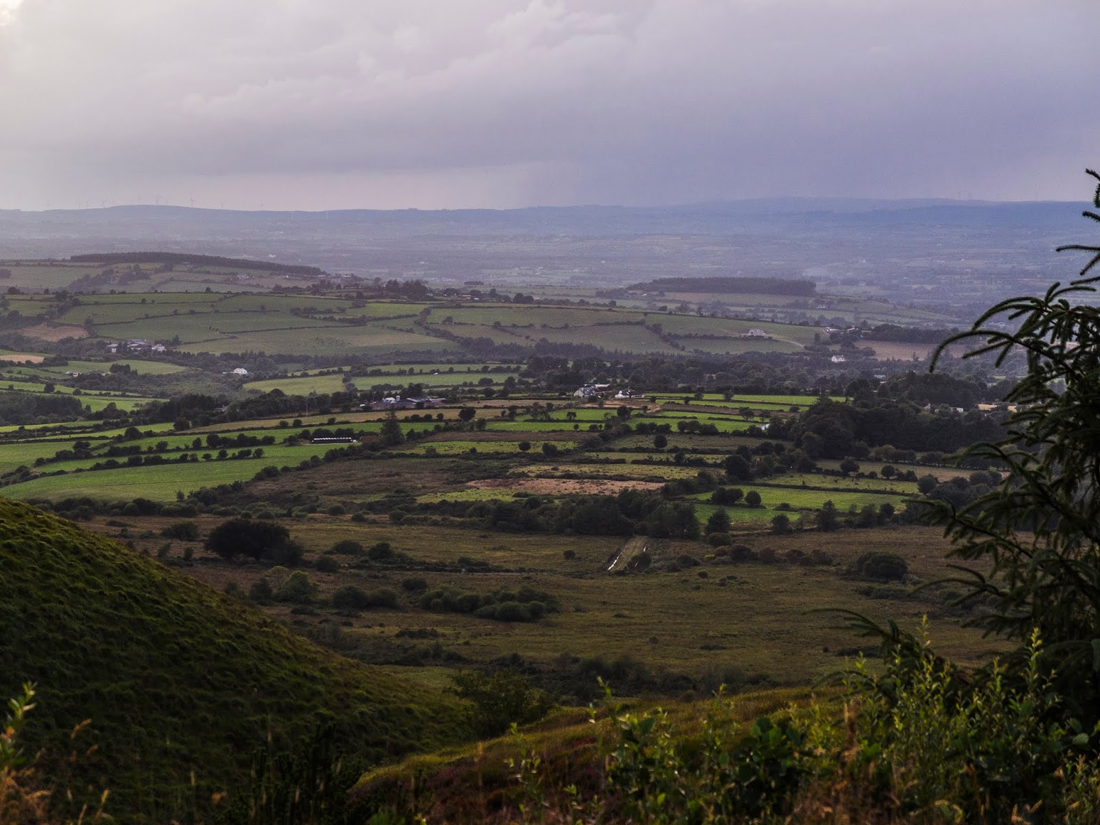 View down a valley in the Boggeragh Mountains in County Cork at sunset.