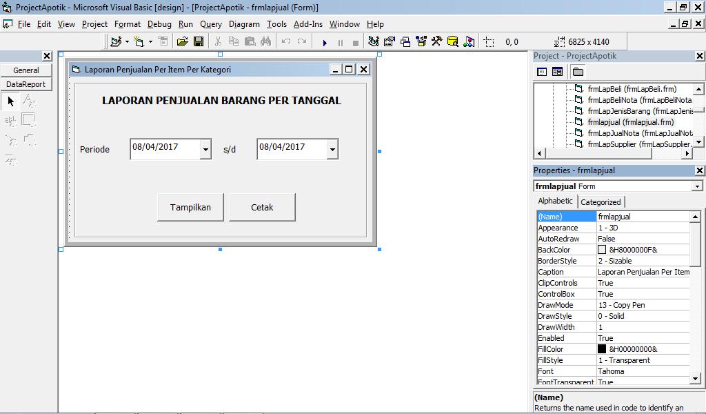 Membuat Laporan Penjualan Per Periode Vb 6 Dengan Database Mysql Howeby
