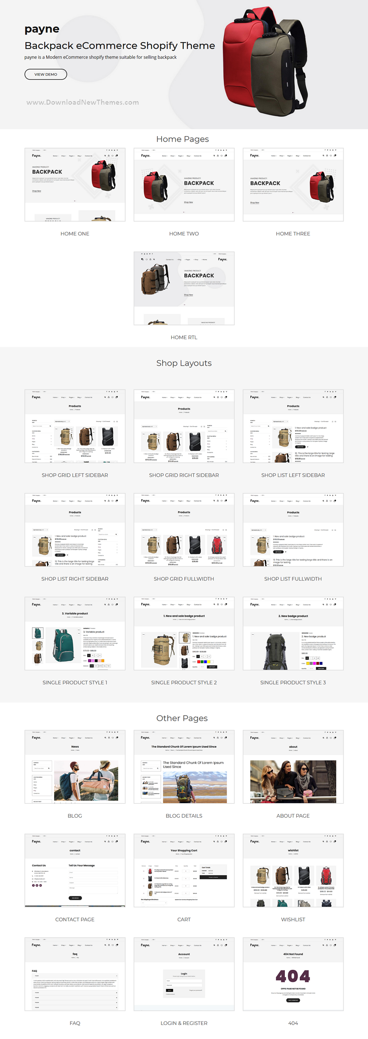 Backpack eCommerce Shopify Theme