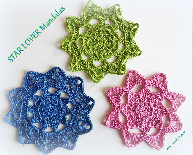 how to crochet, mandalas,motifs, stars, free crochet patterns,