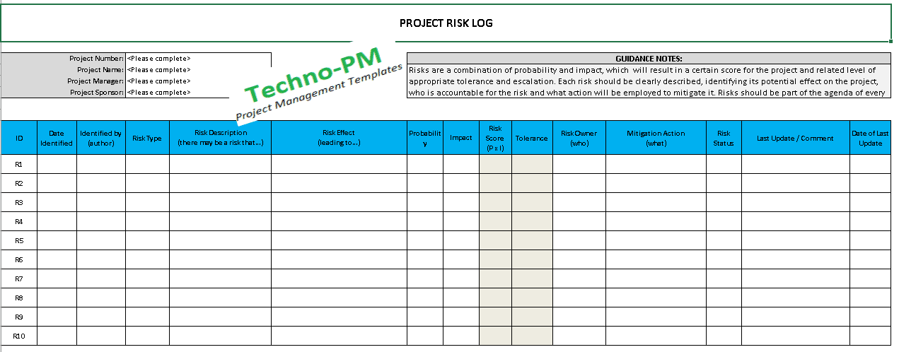 Raid Log Template Excel Download Free Project Management Templates