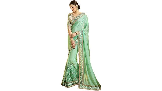Odhni Embroidered Bollywood Chiffon, Net Saree  (Green)