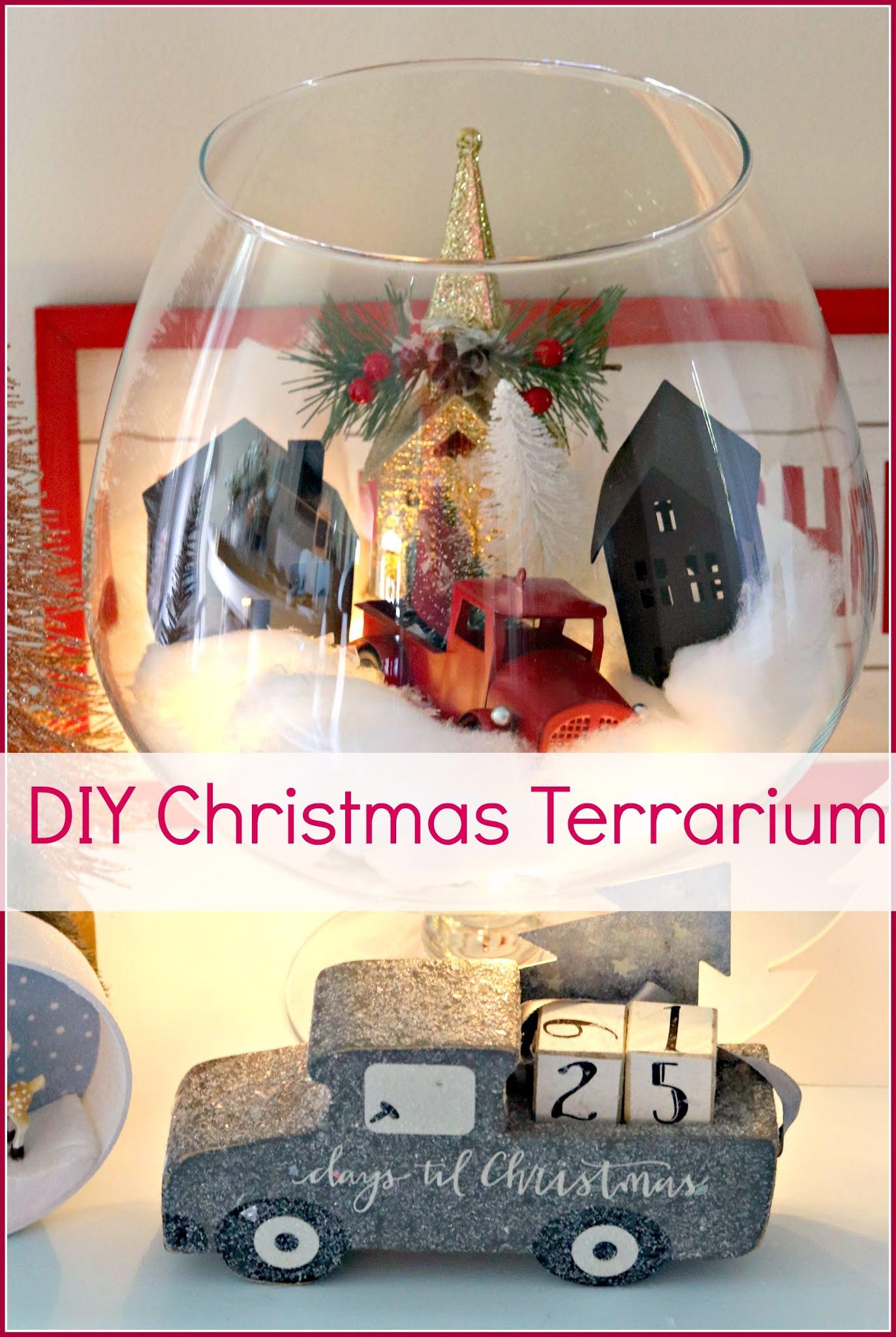 terrarium, Christmas, village, snow, decorating, athomewithjemma