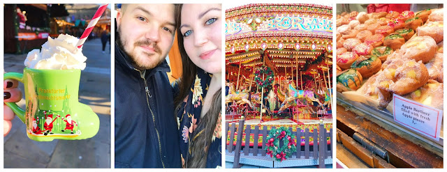 collage - Leeds Xmas market, hot chocolate, carousel, donuts, selfie