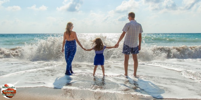 "Featured in the article: ""Personal Development Advice For People With Kids"". Mother, son, Father, beach, sea, personal development, goals, empowerment."