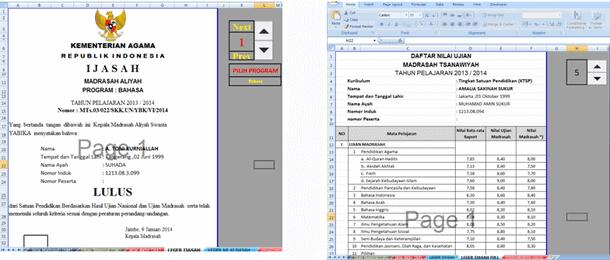 Aplikasi Leger Ijazah MTs MA Format Microsoft Excel